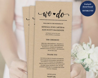 Rustic Wedding Program Template, Rustic Wedding,Program, Program Template, Wedding Program, Ceremony Program,Program, Wedding Programs