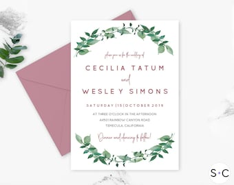 Dusty Rose and Greenery Printable Wedding Invitation Template | Greenery Wedding Invitation| Garden Wedding Invitation | Instant Download