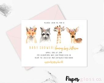 Woodland Baby Shower Invitation Template,Boho Baby Shower Invitation, Gender Neutral, Giraffe,Deer, Woodland Animals, Printable Invitation