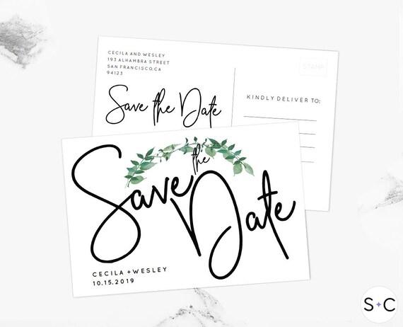 Woodland Save The Date Postcard Template Printable Woodland