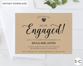 Rustic Engagement Invitation Template, Rustic Engagement Invitation, Engagement Invitation Template, We're Engaged, Engagement Card