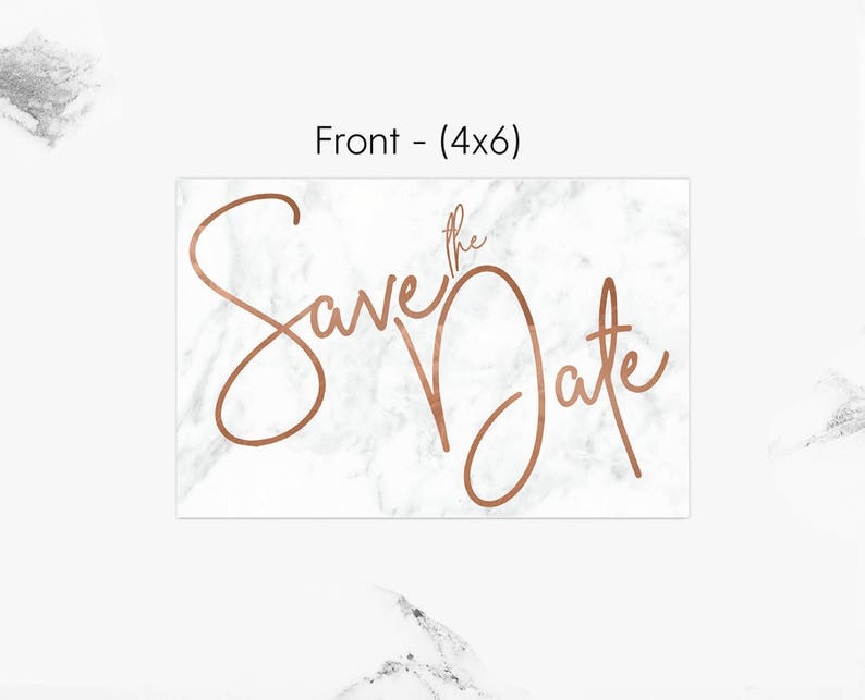 Save the Date Save the Date Cards Save the Date Template Printable and Editable Marble and Copper Save the Date Postcard Template