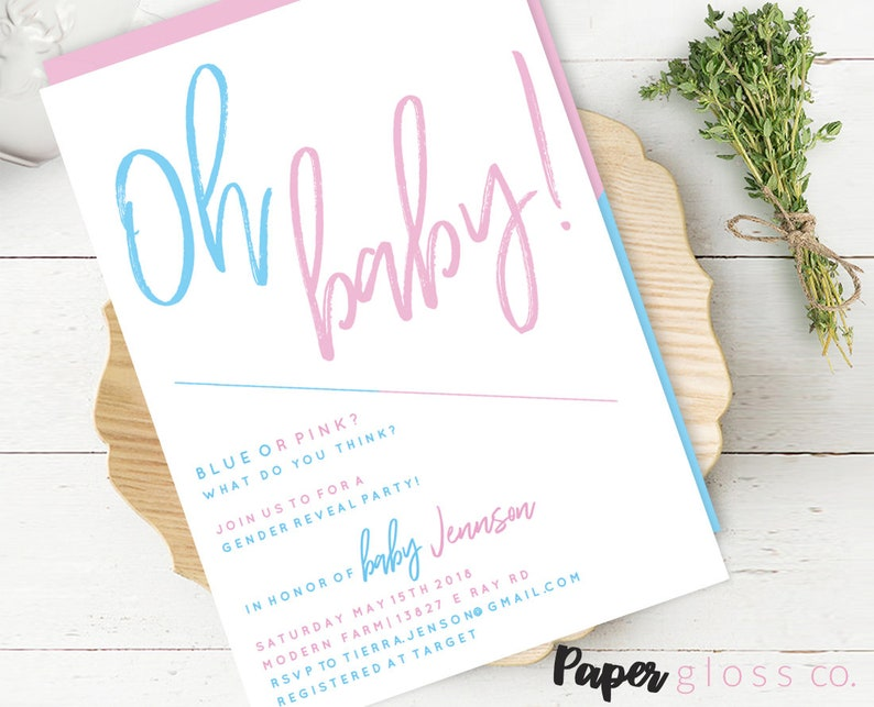 Gender Reveal Invitation Template Baby Party Ideas Blue And Pink He Or She Printable