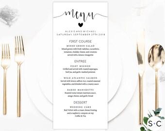 Wedding Menu Template, Menu Template, Printable Menu, Calligraphy Menu, Menu, Dinner menu, Rustic menu, Editable menu, Wedding Menu Cards,