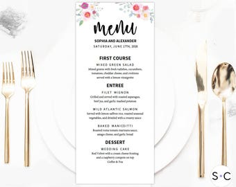 Romantic Floral Wedding Menu Template, Wedding Menu, Menu Template, Menu Printable, Dinner Menu, Wedding Menu Card, Diy Wedding Menu
