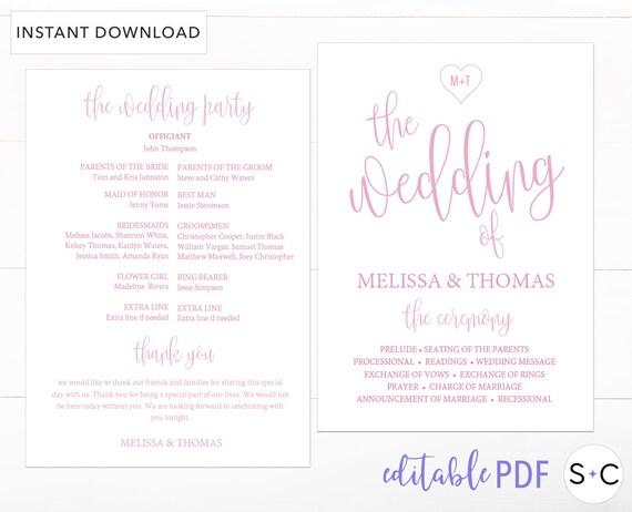 blush wedding program template blush wedding program wedding etsy