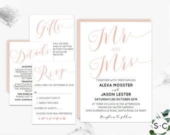 Wedding Invitation Template, Wedding Invitation Printable, Mr and Mrs, Blush Wedding Invitation, Wedding Template, PDF Instant Download