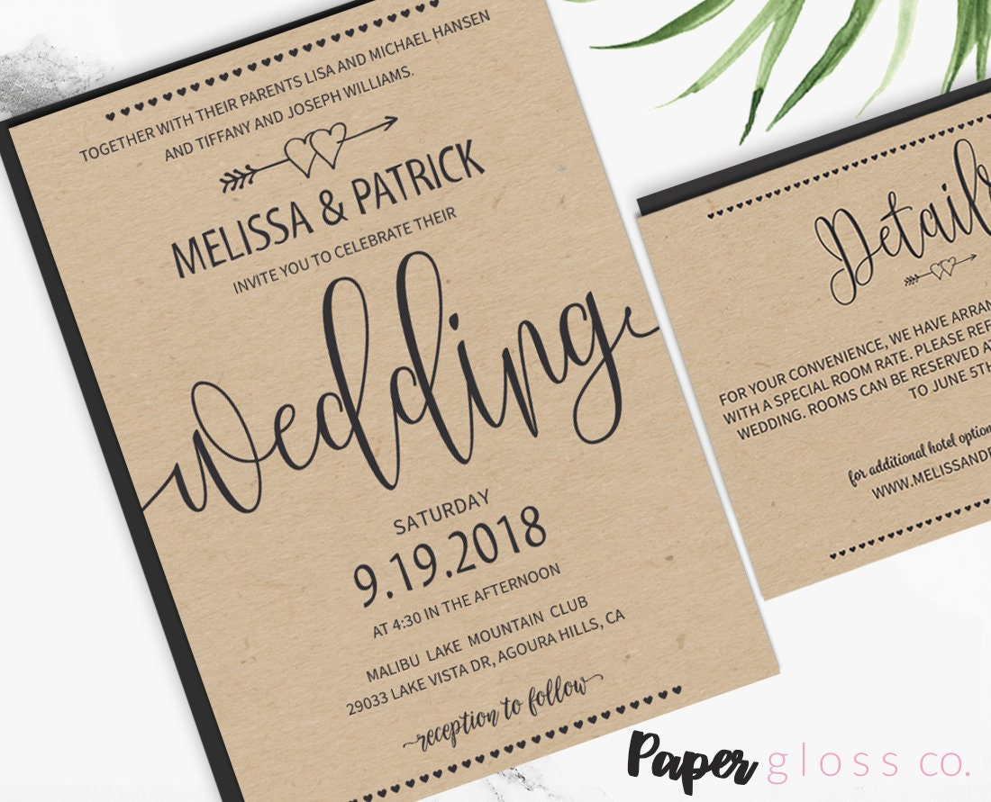 rustic wedding invitation template barn wedding