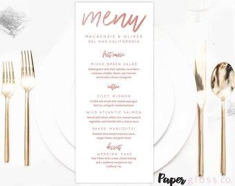 Rose Gold Wedding Menu Template, Rose Gold Wedding, Printable & Editable Calligraphy Wedding Menu,  PDF Instant Download