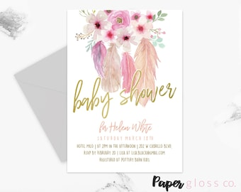 INSTANT DOWNLOAD Baby Shower Invitation girl Template, Boho Baby Shower, Gold, Floral, Feather, Printable Invitation