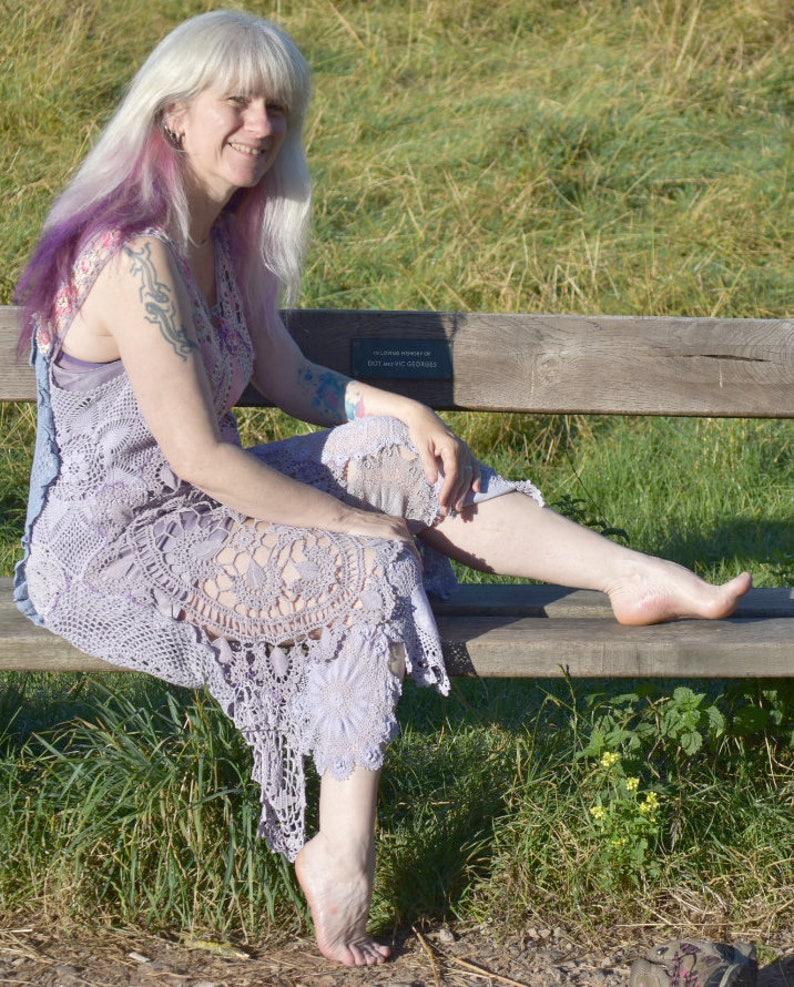 Lavender Lilac Crochet Cotton Dress Festival Handmade Bohemian image 0