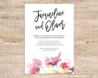 Watercolour Modern Wedding Invitation Printable PDF