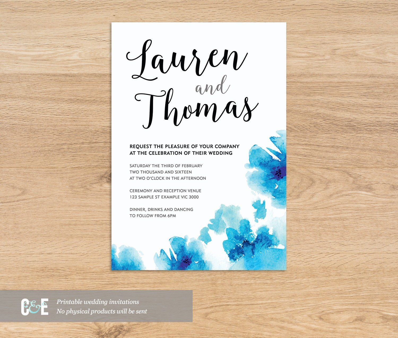 Blue Flowers Watercolour Wedding Invitation PDF