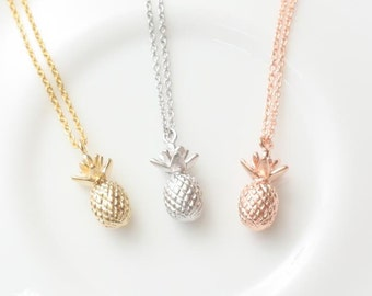 Rose Gold Pineapple Necklace, Fruit Necklace, Dainty Necklace, Pure Necklace, Natural Necklace, Simple Necklace, Creative Jewelry