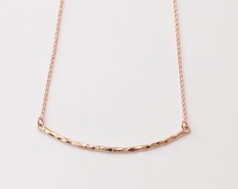Rose Gold Flat Bar Necklace, Arch Necklace, Simple Necklace, Delicate Necklace, Pink Gold Necklace, Bridesmaid Gifts, Friends Gift Necklace