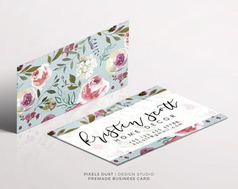 Premade Business Card Template, Business Card Design, Floral Business Card, FLowers, Soft, Pastels, Flowers Template