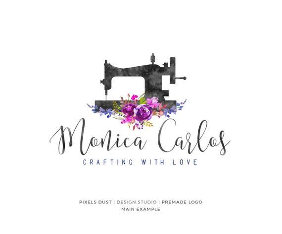 Sewing Logo Sewing Machine Logo Design Floral Crafts Craft Etsy