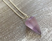 Silver necklace - Amethyst
