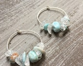 Larimar & Quartz hoop earrings