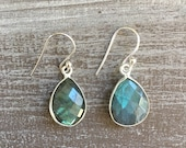 Silver earrings - Labradorite