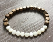 Palm and coral wooden bracelet