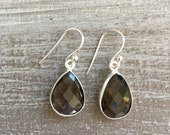 Silver earrings - Smokey Quartz
