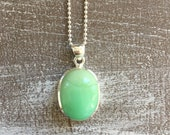 Silver necklace - Lemon Chrysoprase