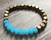 Blue bracelet and Palm wood