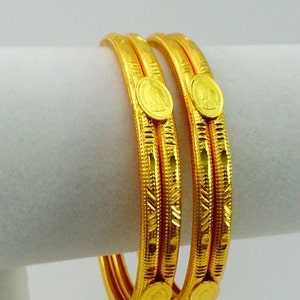 New Unique Elegant Design Indian Bracelet Jaipuri Jewelry Gift for Her Traditional Jewelry 22k Gold Plated Coin Bracelet Bangles Size 2.6