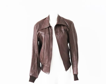 783636232 1970 s brown leather bomber style jacket