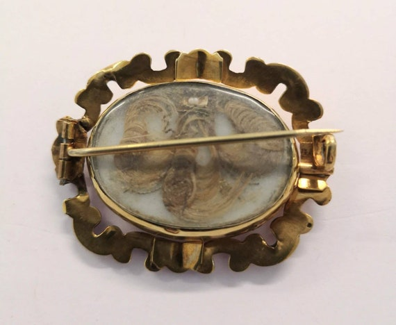 Antique Victorian Reversible Mourning Hair Brooch - image 2