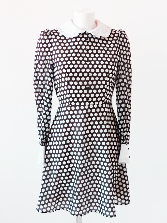 1960s  Polka Dots Mini Dress With White Collar And