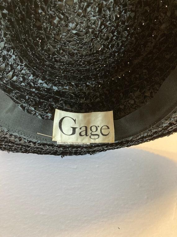 Black wide brim straw hat - image 5