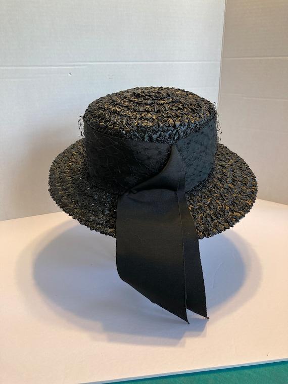 Black wide brim straw hat - image 2