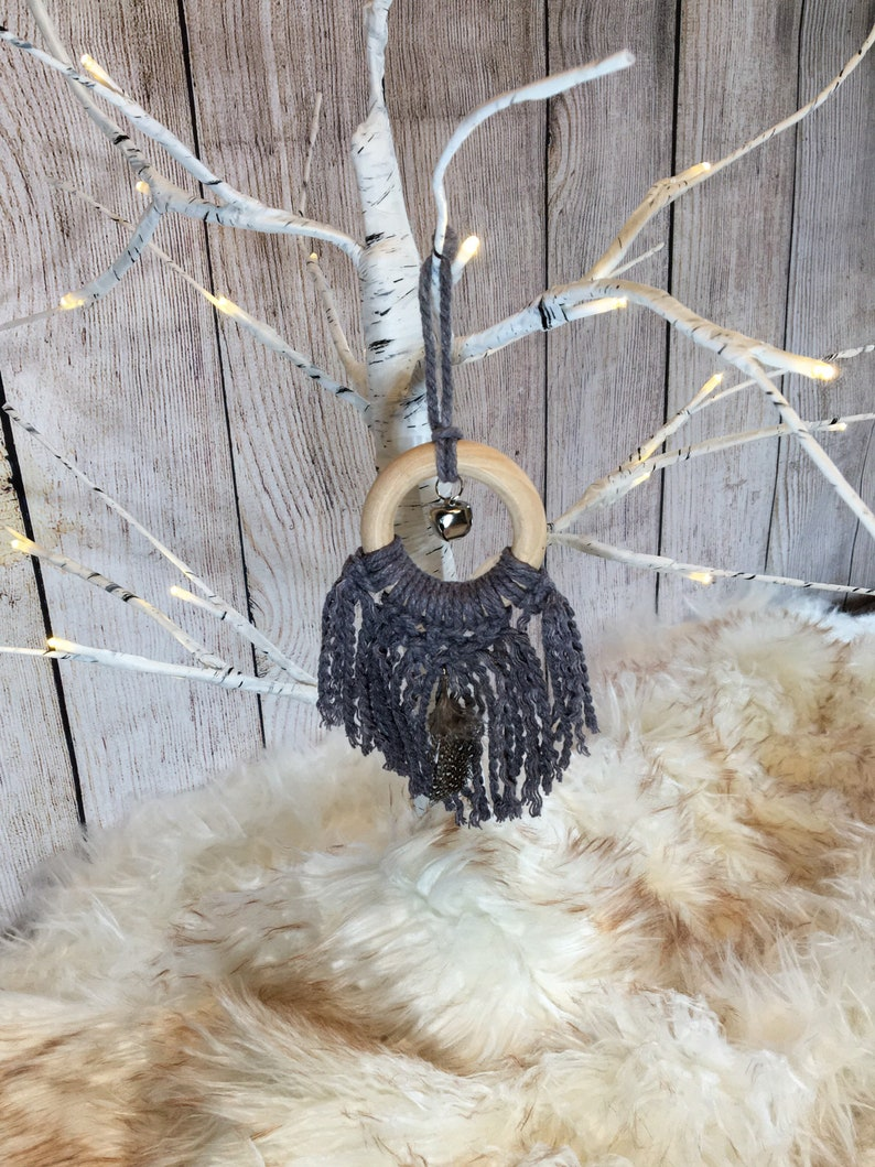Holiday Hand Dyed Berry /& Black Macrame Ornament Pair  Christmas Tree Wreath Gift Decoration  Mini Macrame Purse Car Accessory