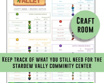 graphic relating to Stardew Valley Printable Checklist identify Stardew Valley record vault and boiler house package deal Etsy