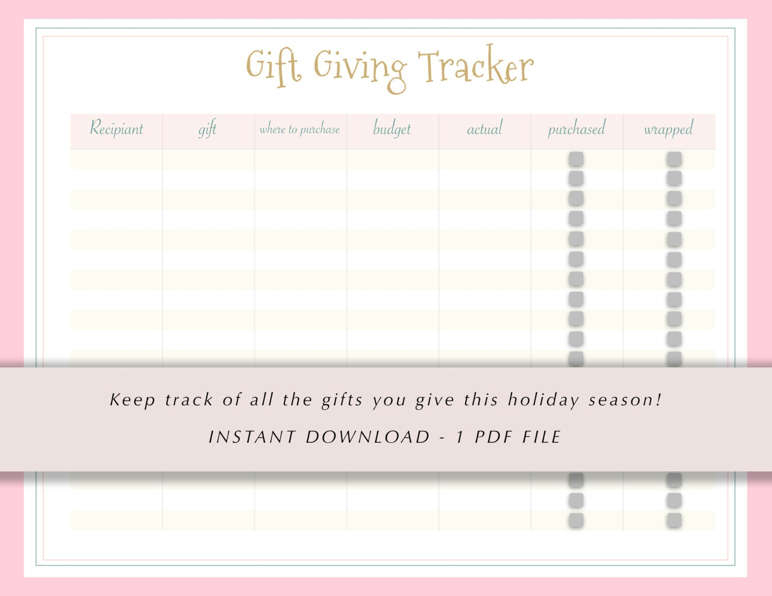 Gift Giving Tracker Christmas Gift List Gifts To Give Etsy