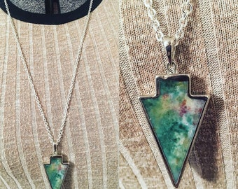 Arrowhead Pendant Necklace, Native American Indian inspired, nature woodland jewelry, tribal, arrowhead charm, silver arrow, silver arrow
