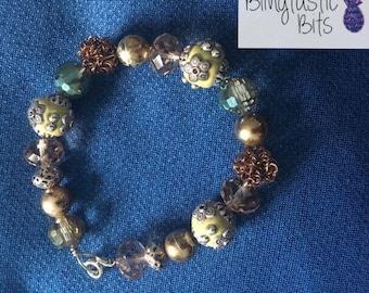Elegant Forest Bracelet unique bracelets beaded beads green silver gold flowers floral boho hippie