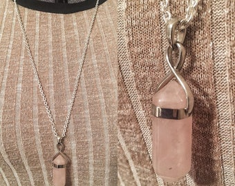 Rose Quartz Point Necklace, Crystal Pendant Necklace, silver, pink, stone necklace