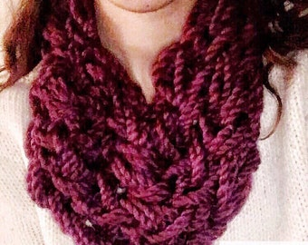 Chunky Arm Knit Infinity Scarf Knitted