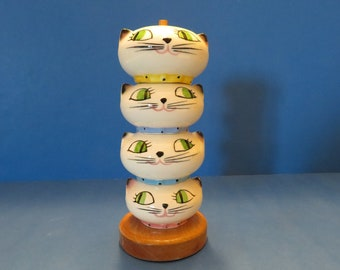 Holt Howard Kozy Kitten Stacking Salt and Peppers Shaker Set of Four with Original Wood Stand - Wonderful Vintage!