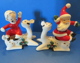 Lefton White Reindeer Taper Candle Holders with Santa and Mrs Claus Candle Climbers - Original Set in Original Box - All Numbered 707