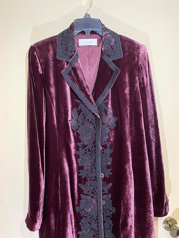 Vintage velvet coat. Purple long coat