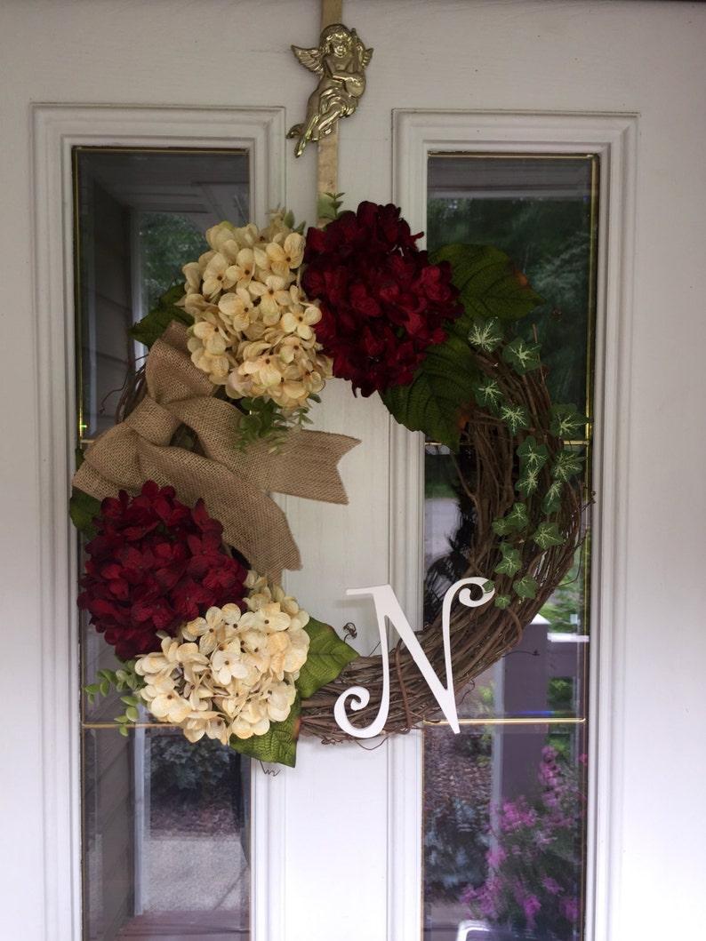 Year Round Wreath Hydrangea Wreath Red Hydrangea Wreath All Season Wreath Valentine Wreath Fall Wreath Initial Wreath Monogram Wreath
