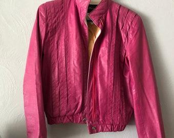 80s Vintage Pink Leather Jacket