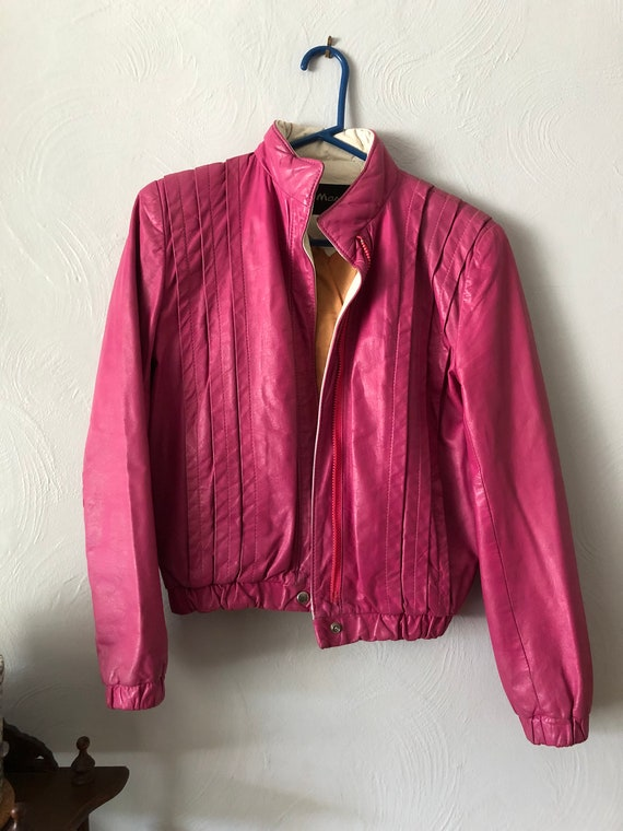 80s Vintage Pink Leather Jacket