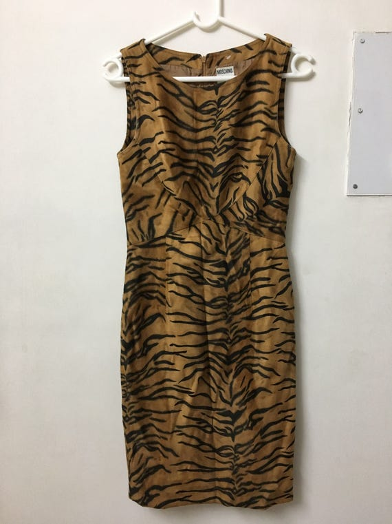 Vintage Moschino tiger print velour dress - image 1