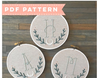 PDF Monogram Embroidery Pattern. Initial Embroidery. PDF Pattern. DIY Embroidery. Personalized Embroidery. Baby Shower Gift. Bridesmaid Gift