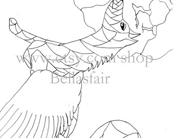 Hand Drawn Mythical Winged Wolf Coloring Coloring Page Etsy
